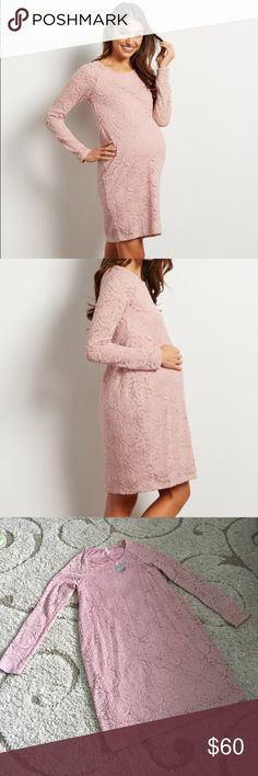 Pink Blush Maternity Mauve Floral Lace Dress BNWT.  Never worn- Beautiful dress.                                  52% Polyester 46% Nylon 2% Spandex A solid lace fitted long sleeve maternity dress. Lace rosette overlay. Double lined to prevent sheerness. 35 inches from high point of shoulder to hem. Measured from Small. Hand Wash Cold, No Bleach, Hang Dry, Line Dry Pinkblush Dresses Long Sleeve