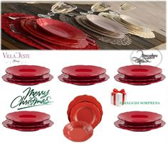 Il servizio Duchessa si prepara al Natale...si veste completamente di rosso per stupire sulla tavola natalizia! Risparmio: (-33 %*) La vendita promozionale scade tra 1 giorno VILLA D ESTE Servizio di piatti DUCHESSA ROSSO -PZ 36 ( 12 PERSONE) Buon Natale