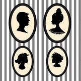 Family piortrait silhouettes Royalty Free Stock Photography