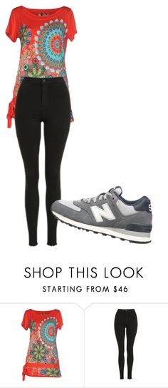 """""""Untitled #2816"""" by ania18018970 ❤ liked on Polyvore featuring Desigual, Topshop and New Balance"""