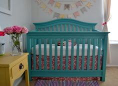 Project Nursery - Teal and Yellow Girl Nursery Painted Crib