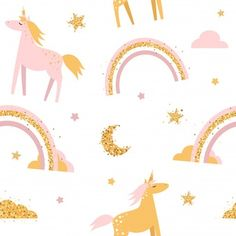 Discover the best Vectors, Photos & PSD files from Kristut - Free Graphic Resources for personal and commercial use Kids Patterns, Print Patterns, Draw Animals, Girls Sleepwear, Unicorn Art, Girls Leggings, Surface Pattern, Animal Drawings, Textile Design