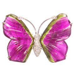 Diamond Watermelon Tourmaline Butterfly Brooch Pin