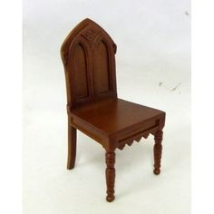 Dolls House Miniature 1:12 Scale Fine Furniture Walnut Gothic Revival Chair 1860