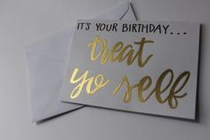 Parks and Rec Birthday Card // Treat Yo Self by KTsCanvases