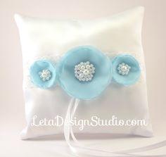 Wedding Handmade Jeweled Ring Pillow Aqua Blue by letadesignstudio
