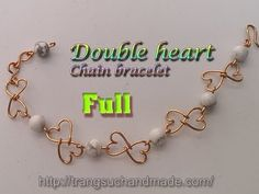 Simple Double heart Chain bracelet with white Synthetic Turquoise Beads ...