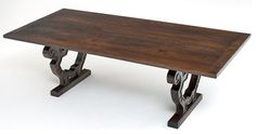 Old World Style Dining Table - Trestle Base - Design #1 - Dining Tables - Grand Rapids - Woodland Creek Furniture