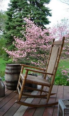 Rocking Chair & Pink Dogwood