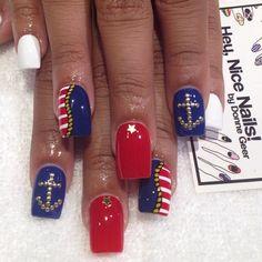 Navy Nail Art, Nautical Nail Art, Navy Nails, Aztec Nails, Chevron Nails, Nautical Nail Designs, Anchor Nail Art, July 4th Nails Designs, 4th Of July Nails