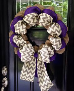 Chevron Burlap Wreath 22 inch for front door or accent - Purple, White, Gray, and Natural