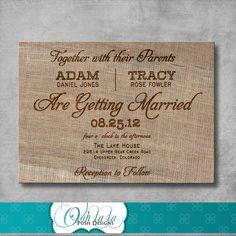 Rustic Burlap Wedding Invitation  DIY  by OohlalaPoshDesigns, $12.00
