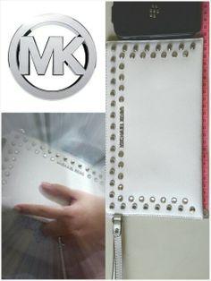 MICHAEL KORS jewel clutch optic white