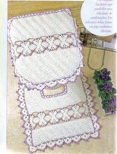Crochet lilac bathroom set ❤️LCB-MRS❤️ with diagrams. --- Crochê da Reh: Jogo de Banheiro Lilás