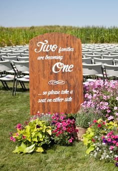 """""""two families are becoming one, so please take a seat on either side""""   wedding hand painted wood sign"""