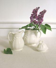 Antique Ironstone Cream and Sugar Set, White Ironstone with Wheat Pattern, Matching Sugar and Creamer