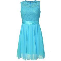 Women Sleeveless O Neck Lace Crochet Patchwork Chiffon Dress (80 RON) ❤ liked on Polyvore featuring dresses, blue chiffon dress, chiffon summer dresses, collar dress, crochet dress and blue dress