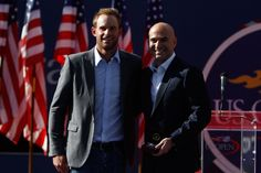 Andre Agassi is inducted into the Court of Champions before the Women's Singles Finals of the 2012 US Open.  - Philip Hall/USTA