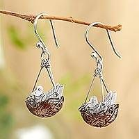 Copper and sterling silver dangle earrings, 'Robin's Nest'
