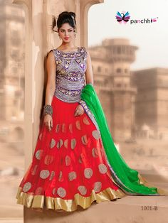 """WEDDING WEAR RED N GREEN COLOR DESIGNER LEHENGA CHOLI Product type: Lehenga Choli,  Lehenga: Cherry red mono net with jari kasab embroidery,   Chunni: Rama green mono net with embroidery border,  Blouse/choli: Jari kasab embroidery on purple dupen,  Lehenga Length:   42"""" Lehenga Waist:   40"""" Choli Customized Up to:   38"""" Care Info: Dry clean only,   Occasion: Navratri, Engagement, Mehendi, Sangeet, Wedding, Other Festivals"""