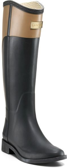 Hunter Black Rain Boots Cece Logo Riding Boots