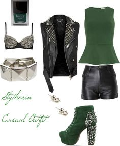 """""""Slytherin Casual Outfit"""" by teresa-cheating-beauty on Polyvore"""