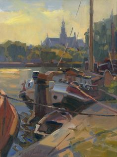 Art - Art Revisited Tjalk Hans Versfelt x cm - Oil on panel Boat Painting, Painting & Drawing, Urban Life, Art Pictures, Landscape Paintings, Netherlands, Holland, Art Photography, Drawings