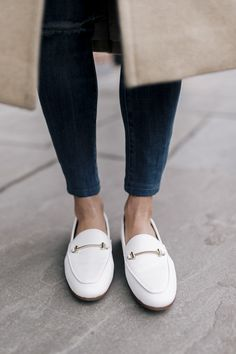 My Favorite Outfit As Of Late - Loafers Outfit - Ideas of Loafers Outfit - classic white loafers: rstyle.me/ Nordstrom Brown Loafers, Leather Loafers, Gucci Loafers, White Shoes, White Sneakers, Loafers Outfit Summer, Leather Ballet Shoes, Best Sneakers, Loafers For Women