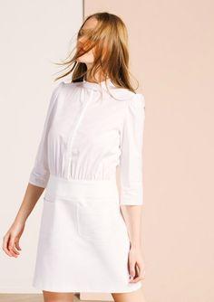 Robe bi-matière en coton blanc
