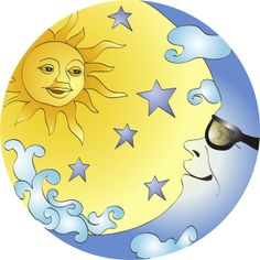 Sun and Moon Paintings | Sun And Moon With Glasses clip art