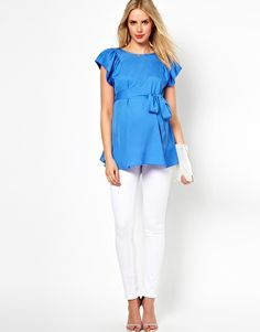 ASOS Maternity Blouse With Ruffle Sleeve And Belt $49.06