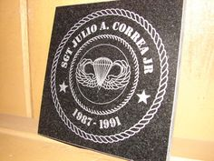 Stone Personalized Laser Tribute Plaque Gift or Award for Military, Fire Department, Law Enforcement & Fraternal Organizations on Etsy, $30.00
