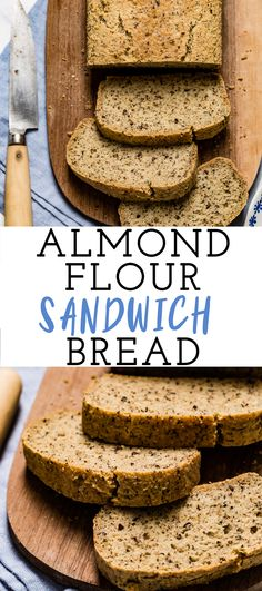 Almond Flour Sandwich Bread The BEST almond meal sandwich bread recipe that is easy and quick to make. Gluten-free, low sugar, low-carb, paleo and keto-friendly. Great to use as a sandwich bread or to slice for breakfast. Low Carb Almond Flour Bread Recipe, Make Almond Flour, Almond Bread, Lowest Carb Bread Recipe, Coconut Flour, Keto Flour, Sugar Bread, Healthy Bread Recipes, Sandwich Bread Recipes
