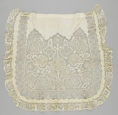 apron | csipke - Cutwork; embroidered; lace; machine-sewn