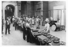 The kitchens at Alexandra Palace showing the midday meal ready for serving. Vintage London, Old London, World War One, First World, Alexandra Palace, London Pride, North London, Vintage Photography, Prison