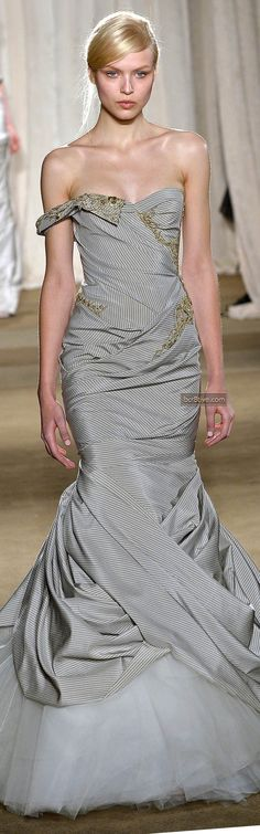 The design is fantastic but the stripes need to go and I'd give it more a vibrant color, but since it's for fall/winter I guess the color fits. Marchesa Fall Winter 2013 New York Fashion Week