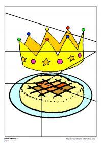 Puzzles pour la galette des rois 20 puzzles en couleur ou en noir et blanc sur le thème de l'épiphanie et déclinés en 4, 6, 9 et 12 pièces avec des illustrations variées (roi, reine, couronne, galette, fève, recette) Ils pourront être plastifiés ou utilisés directement comme exercices.