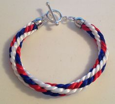 Red, white and blue Kumihimo bracelet by Jewellery by Janine https://www.facebook.com/JewelleryByJanine