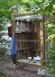 rustic outside shower