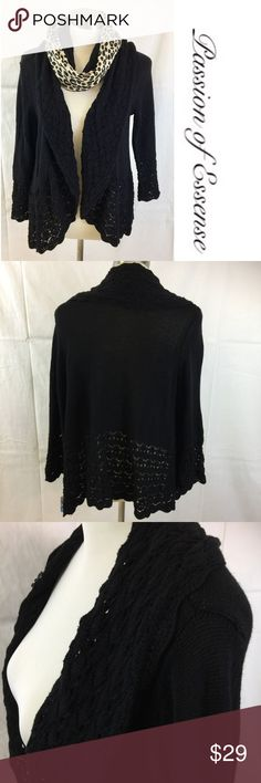 Women's Black Craft & Barrow Cardigan Sweater Put the finishing touch on your outfit with this chic cardigan sweater, open front, long sleeves, 60% cotton, 40% Acrylic. croft & barrow Sweaters Cardigans