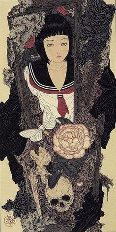 Es habitual encontrar artistas japoneses que realizan bellas ilustraciones protagonizadas por niñas, adolescentes… donde se enlazan lo dulce y lo amargo… la inocencia y el peligro e in…