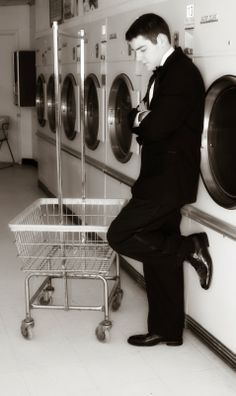 Frazzled Mom and Friends - Senior Picture Ideas, Senior Picture Ideas Guys, boys - Laundromat Tuxedo - by Sheree