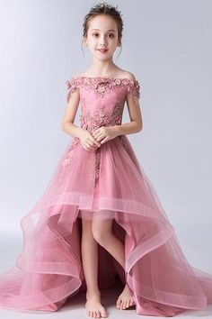 Buy Gorgeous Pink Off the Shoulder With Lace Appliques High Low Tulle Flower Girl Dresses in uk. Find the perfect flower girl dresses at rosepromdress. Our flower girl dresses come in a variety of styles & colors including lace, tulle, purple & gold Gowns For Girls, Little Girl Dresses, Girls Dresses, Dresses For Flower Girl, Dresses Dresses, Prom Dresses For Kids, Kids Bridesmaid Dress, Baby Girl Party Dresses, Sleeveless Dresses