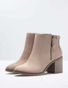 BSK zipper detail heeled ankle boots - Shoes - Bershka Tunisia