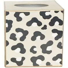 Dana Gibson Leopard White Tissue Box Cover ($65) ❤ liked on Polyvore featuring home, bed & bath, bath, bath accessories, black and white bathroom accessories, white bathroom accessories, white tissue box holder, black white bathroom accessories and white tissue box