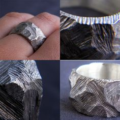 "bookspaperscissors: "" Rough Ring, Recycled Silver I carved this one of a kind ring in wax, giving it a unique texture using rough files, than I cast it in sterling silver using the lost-wax method. This ring is one of kind, and will fit both men and..."