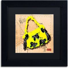 Trademark Fine Art Bow Purse Black on Yellow Canvas Art by Roderick Stevens, Black Matte, Black Frame, Size: 16 x 16
