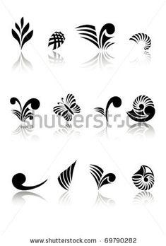 Illustration about Collection of Maori Koru Design Elements with Reflections. Illustration of elements, black, koru - 22713157 Maori Koru, Maori Symbols, Maori Designs, Leg Tattoos, Small Tattoos, Tatoos, Koru Tattoo, Maori Patterns, Indigenous Art
