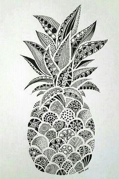 Drawings – Zentangle art – Doodle art – Pineapple art – Doodle drawings – Art drawings – The p Doodle Art Drawing, Zentangle Drawings, Art Drawings Sketches, Drawing Drawing, Doodles Zentangles, Drawing Tips, Zentangle Art Ideas, Easy Mandala Drawing, Easy Zentangle Patterns