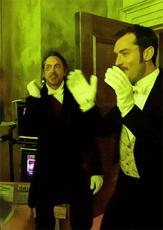 """Holmes and Watson get their dance on. (Behind the scenes, """"Sherlock Holmes: A Game of Shadows"""")"""